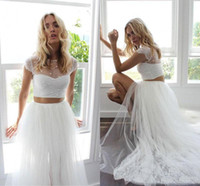 Newest 2019 Two Pieces Summer Beach Wedding Dresses Lace Top...
