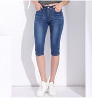 Denim Jeans de Cintura Alta Mulheres Shorts Na Altura Do Joelho Mulher Magro Plus Size Feminino Capris Jeans Femme Curto Denim Calças de Verão Por Atacado