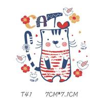 Kid Patch Lovely Cartoon Cat Sticker Cartone animato fai da te Adesivi per maglietta Divertente Iron-on Transfers Patch per vestiti