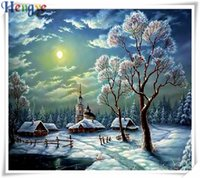 Diamond embroidery snow forest sun diy diamond painting cros...