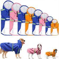 패션 개 레인 코트 실용 반사 스트라이프 레인 코트 방수 안티 눈 비 코트 자켓 의류 애완 동물 용품 많은 색상 32xq Z