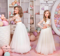 2018 New Cute Two Piece Flower Girls Dresses Top Lace Appliq...