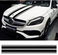 Baskı 1 Stil Bonnet Stripes Hood Çıkartması Motor Kapağı Çıkartmalar Mercedes Benz için C GLA GLC CLA 45 AMG W176 C117 W204 W205
