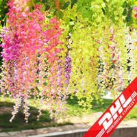 110 cm Flores Artificiais Simulação Flor Wisteria Romântico Decorações De Casamento 5 cores Cane Garden Grinaldas De Seda Secas Flores