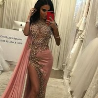 2019 New Glamorous Saudi-Arabien Mermaid Abendkleider Mit Chiffon Wrap Sparkly Pailletten Perlen Applique Side Split Abendkleider 2020