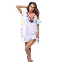Örgü oymak bikini bluz kadınlar yaz gevşek sahil tatil plaj güneş koruyucu kenevir mayo ceket ljje7
