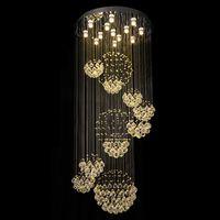 Современные люстры Большой Хрустальный светильник для Лобби Лестница Лестница Фойе Long Спираль Luster Потолочные светильники для скрытого монтажа лестничного освещения