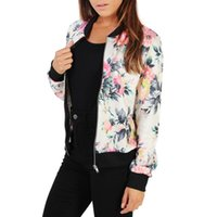 Women Retro Flower Printed Jacket Ethnic Style Zipper Bomber...