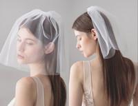 2018 تصميم جديد رخيصة زفاف قصيرة لينة تول الزفاف الحجاب مع مشط الوجه الأبيض الحجاب لحضور حفل زفاف CPA1434