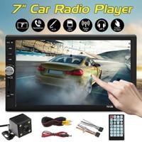 """2din 7 """"HD سيارة ستيريو راديو MP5 لاعب بلوتوث شاشة تعمل باللمس + الكاميرا الخلفية MP5 لاعب GPS شحن مجاني"""