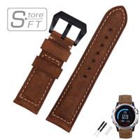EACHE 26 milímetros Couro Watchband Para Garmin 3 Crazy Horse Leather Strap Watch Band para 3 homens assistir acessórios