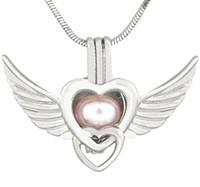 جديد العتيقة الفضة أجنحة الملاك الحب القلب قلادة القلائد للنساء لؤلؤة المنجد سحر قفص قلادة 190 أنماط CP036