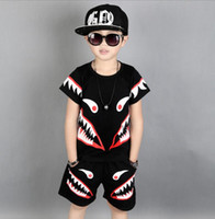 2018 Summer Boys clothing sets Shark pattern suits summer co...