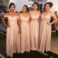 2018 Arapça Şeftali Gelinlik Modelleri Kapalı Omuz Dantel Aplikler Bir Çizgi Şifon Kat Uzunluk Dubai Özel Düğün Misafir Servi