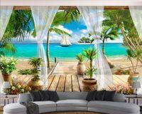 Tapety 3D Современные фото Обои Высокое Качество 3D Стереоскопическое Балкон Вид на море 3D Обои Гостиная Настенные Документы Домашний Декор