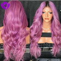 Средняя часть Ombre фиолетовый Розовый парик длинные Термостойкие Волосы Аниме Косплей Blogger Ежедневный Макияж Синтетический Парик Фронта Шнурка Свадьба