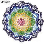 Polígono impresión borla redonda toalla de baño yoga estera loto colorido playa toalla manta suntan chal fabricante