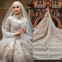 Luxury Muslim Lace Wedding Ball Gowns Long Sleeve Plus Size ...