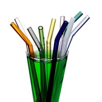 Colorful Glass Drinking Straws 20*0. 8cm Reusable Bent Thick ...