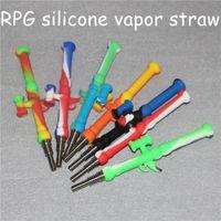 Silikon-Nektor-Kollektor-Kit Nektar-NC-Rohre 10mm mit GR2 Titan-Nägeln Silikonbong-DAB-Rig-Ölkonzentrat-Strohrohr-Spitze