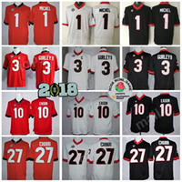 Georgia Bulldogs Jersey 2018 Finales Rose Bowl Patch College Football 1 Sony Michel 3 Todd Gurley 10 Jacob Eason Jersey 27 Nick Chubb