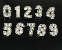 Numero alfabeto Lettera Crystal Rhinestone Slider Slider Catena portachiavi Charm / Bead / Braccialetto