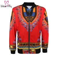 2018 femmes Dashiki manches longues Mode africaine Imprimer Manteau Bomber National Vintage Fermeture eclaire Courtes Veste femme Outfit