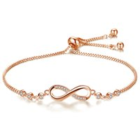 Yellow White Rose Gold Plated AAA CZ Number 8 Bracelet for G...