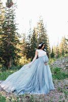 По беременности и родам империи Тюль Свадебные платья в богемном стиле A-Line с коротким рукавом Бело-синие кружевные свадебные платья Vestido Novia 2019 Новый W263