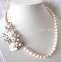 "SPEDIZIONE GRATUITA vendita calda 20 ""8-9mm pendente collana di perle d'acqua dolce bianco"