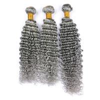 Capelli grigi umani dell'onda profonda grigio d'argento di qualità 3 pacchi I capelli grigi brasiliani vergini tessono le estensioni dei capelli umani del lotto di lotto 3Pcs