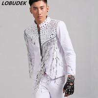 Ночной клуб мужская певица рок-панк сценический костюм бар вокальный концерт Джазовый танцор производительность одежда белые блестки кисточки куртка