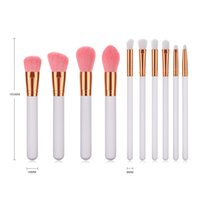 10pcs set White Pearlescent Wood handle Makeup Brushes Blush...