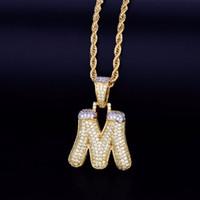Мужская Snow Bubble Letters ожерелья шарма Ice Out Кубический циркон Хип-хоп ювелирные изделия с Rope Chain Hot Продавец