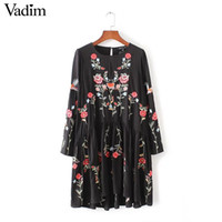 women vintage floral embroidery A- line dress long sleeve o- n...