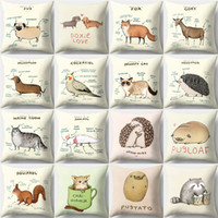 18*18 Inch Polyester Peach Skin Square Pillow Cover Animal H...