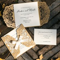 50 Set Gold Lace Customizes Wedding Invitations Cards With E...