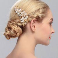 20 pz Trendy Bride Strass Bianco Crystal Pearl Pettini Capelli Design Design Capelli Clip per capelli Partito nuziale Asciugale Bridal Capelli Accessori per capelli Gioielli