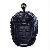 커튼 쥬얼리 흑요석 스크럽 펜던트 블랙 Guanyin 헤드 펜던트 Transhipped Buddha Head
