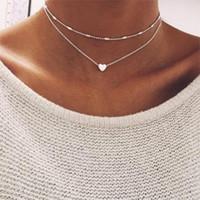 Art- und Weisehalskette kupferne Pfirsichherz-mehrschichtige Schlüsselbein reizende Halskette für Frau und Mädchen freies Verschiffen
