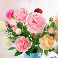 3 головы Пион украшения искусственный шелк розы цветы 65 см длинный стебель розы свадьба Главная декоративные цветы венки