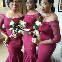 2018 부르고뉴 아프리카 신부 들러리 드레스 레이스 오프 어깨 롱 슬리브 인어 웨딩 게스트 드레스 레이스 하녀 명예 싼 칵테일 가운