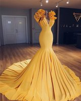 Sexy Yellow Plus Size Mermaid Evening Dresses 2019 Yousef Al...