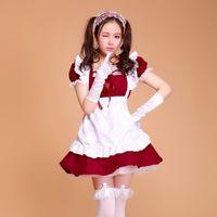 disfraces de halloween para mujeres de talla grande Criada francesa atractiva de la criada del traje gótico dulce vestido de Cosplay del Anime de Sissy Uniforme