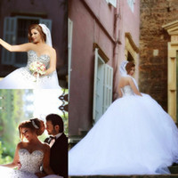 Newest Fashion Beaded Tulle Ball Gown Wedding Dresses Sweeth...
