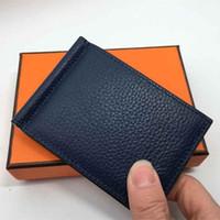 محفظة لبطاقات الائتمان رجل محفظة جلد حقيقي جودة عالية محافظ بطاقة حامل المال كليب الرجال محفظة فليت الصغيرة مع مربع حقيبة الغبار