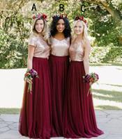 Borgogna Paese due pezzi abiti da sposa 2020 Paillettes Top Style Mix Vacanza Lunga Junior Wedding Party Ospite Vestito poco costoso