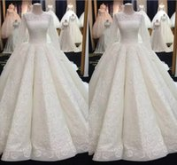 Middle East Muslim Ball Gown Wedding Dresses Long Sleeve Lac...