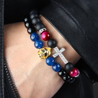 1 PCS Religieux Totem Bijoux 8mm Mat Onyx Couleurs Oeil De Tigre Pierre Perles Avec Effacer Cz Croix Royale Jésus Bracelets Pour La Fête