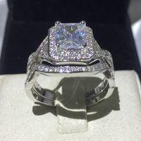 Мода ювелирные изделия женщины обручальное ювелирные изделия Принцесса вырезать драгоценный камень 5а Циркон камень 10kt белого золота заполнены обручальное кольцо Sz 5-11